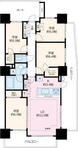 タワー棟10階部分。南・東・西の三方角部屋。人気の4LDKです。室内は大変綺麗です。